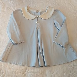 Baby Girl light blue sailor dress with pearl butto